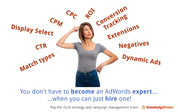 A business owner looks confused, surrounded by Pay Per Click jargon like CTR, ROI, CPC, Dynamic Ads etc, and the headline says You don't have to become an expert in AdWords - when you can just hire one!