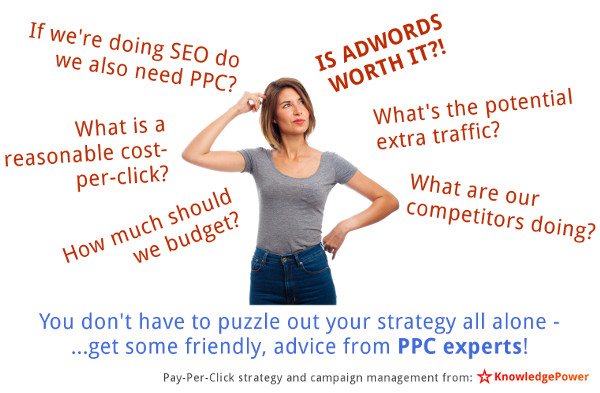 A business manager looks confused as she considers various pay per click strategy questions such as what is a reasonable cost per click, and is AdWords really worth it?