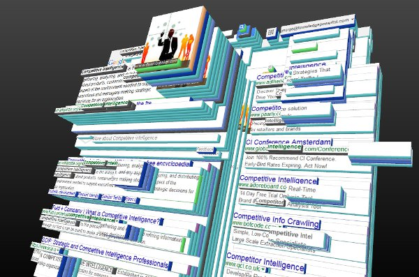 3D view of a crowded Google search result