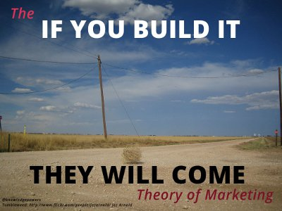 the if you build it they will come theory of marketing, illustrated with an empty road with a tumbleweed