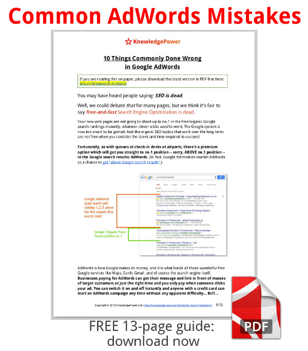 screenshot of the first page of the PDF guide - 10 things commonly done wrong in Google AdWords - free 13 page guide, download now