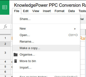Google Sheets: File, Make a Copy