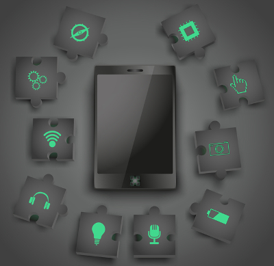 illustration of a mobile phone with symbolic extra digital functions for modular enhancement
